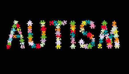 Word AUTISM. Vector illustration.