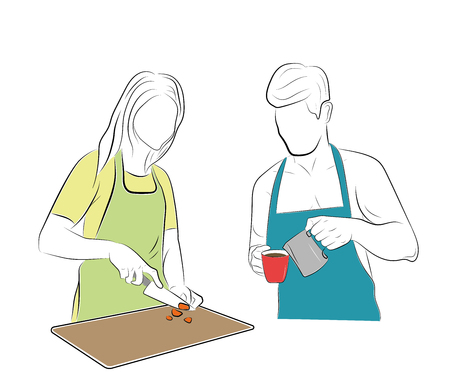 man and woman in the kitchen. he makes coffee, she cooks food.