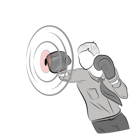 businessman in boxing gloves hits the target. concept of struggle in business. Vectores