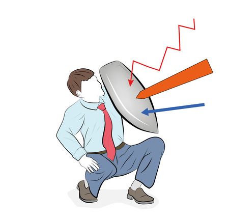Business concept vector illustration of a businessman defending himself with a shield. Risk, courage, leadership in business concept
