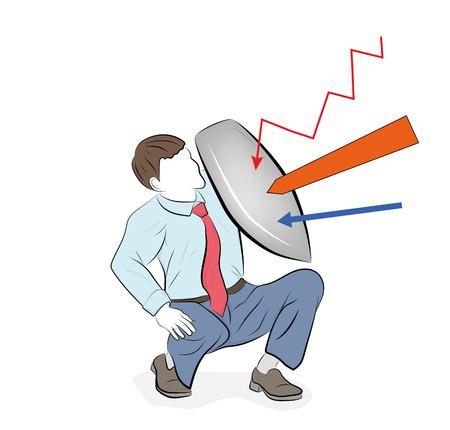 Geschäftskonzept-Vektorillustration eines Geschäftsmannes, der sich mit einem Schild verteidigt. Risiko, Mut, Führung im Geschäftskonzept