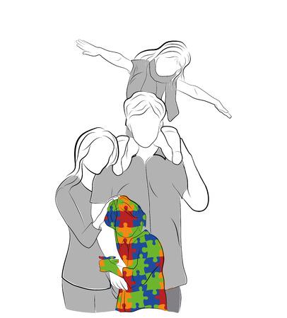 rodzina z dzieckiem autystycznym. Światowy dzień autyzmu. ilustracji wektorowych.