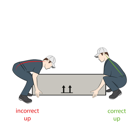 Correct posture to lift. Illustration of health care. Vector illustration Illustration