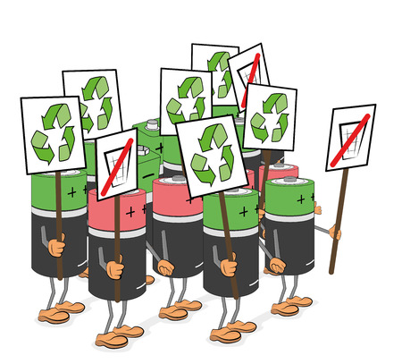 Poster batteries for ecology and cleanliness. vector illustration. Banque d'images - 112471627