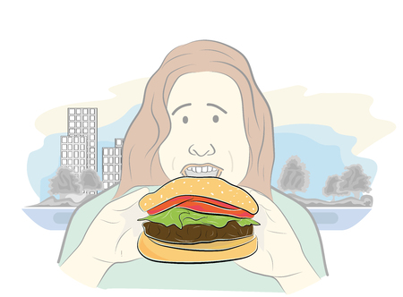 overweight girl eats hamburger. healthy food. obesity. vector illustration.