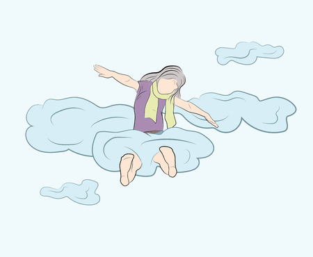 girl sitting on the clouds. vector illustration. Vettoriali