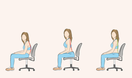 correct and incorrect posture when sitting on a chair. medical recommendations. vector illustration.