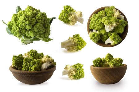 Set of Roman cauliflower. Roman cauliflower on wooden bowl isolated on white. Roman cauliflower close up. Fractal texture of romanesco broccoli. Roman cauliflower with copy space for text. Imagens