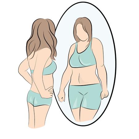 dziewczyna wygląda tłuszczu ilustracji wektorowych. Ilustracje wektorowe