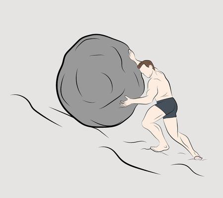 l'homme pousse une pierre vers le haut. illustration vectorielle.