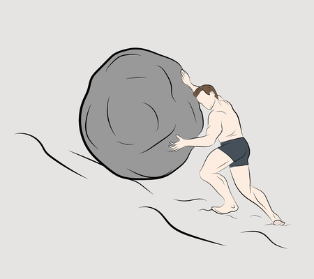 man pushes a stone up. vector illustration. Illustration