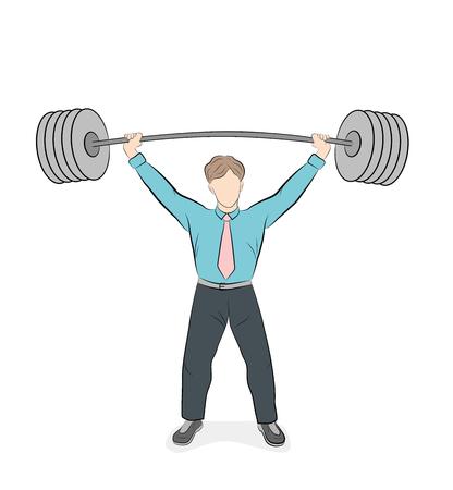 businessman raises the bar. success in business. vector illustration.