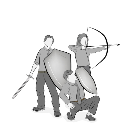 business team reflects attacks. teamwork. business strategy. vector illustration.
