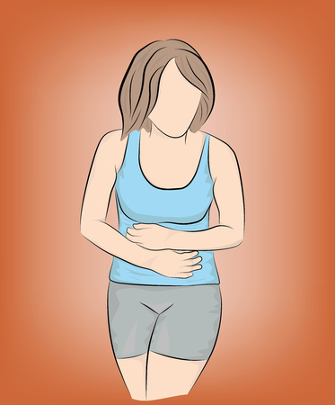 woman holding her belly. medical assistance for abdominal pain. vector illustration.