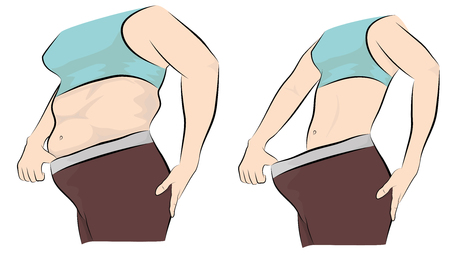 Womans body before and after weight loss. vector illustration. Ilustração