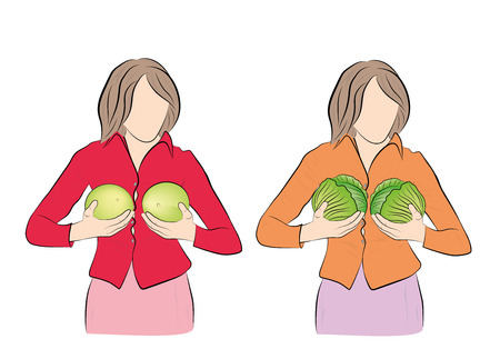 women hold fruits. Concept silicone breast and plastic surgery. vector illustration.