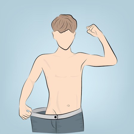 losing weight playing sports. weight loss concept. vector illustration. Vettoriali