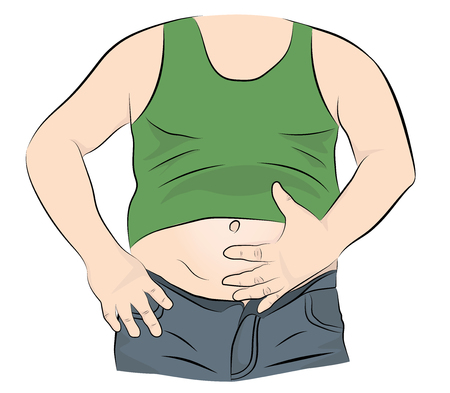 Fat man with a big belly. vector illustration. Stock Vector - 117844014