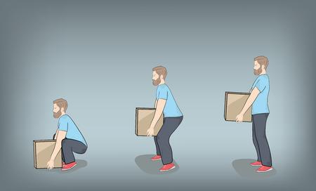Postura correcta para levantar. Ilustración de la asistencia sanitaria. Ilustración vectorial Ilustración de vector
