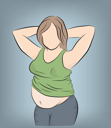A pregnant or fat woman takes a selfie. vector illustration.
