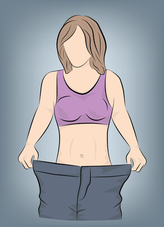 her girl shows that her pants are great. weight loss concept. vector illustration. Ilustrace