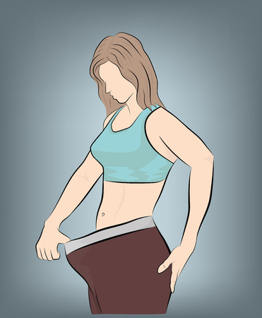 her girl shows that her pants are great. weight loss concept. vector illustration. Illustration