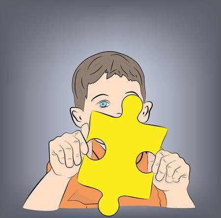 child holding a puzzle. vector illustration. Ilustracje wektorowe