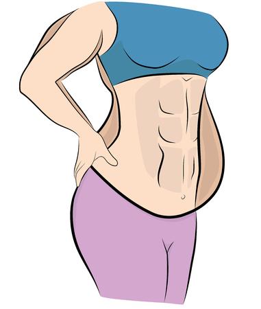 mujer antes y después de perder peso. ilustración vectorial.