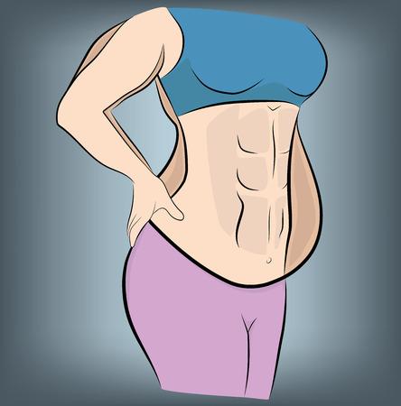 Frau vor und nach dem Abnehmen. Vektor-Illustration.