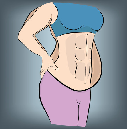 woman before and after losing weight. vector illustration.