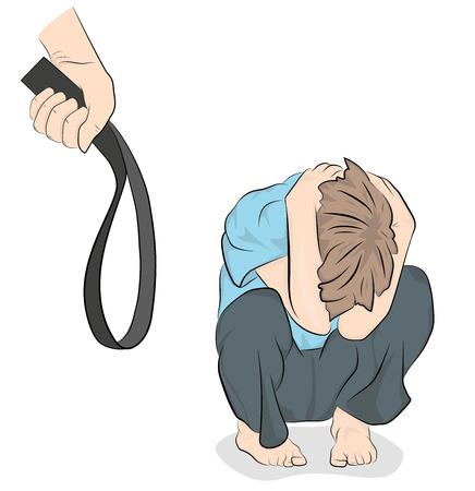 Kindesmissbrauch. häusliche Gewalt. Vektor-Illustration.