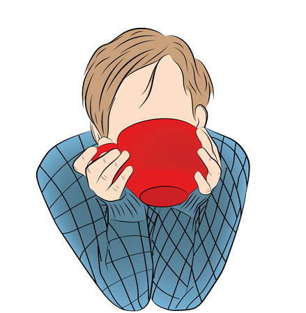 the guy is drinking coffee (tea) from a big cup. vector illustration.