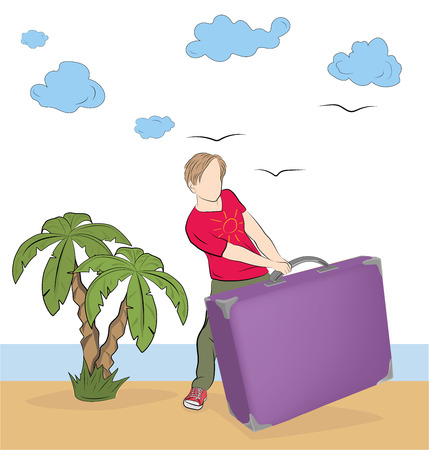 Man with a suitcase against the backdrop of the sea and palm trees. leisure concept. vector illustration.