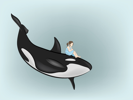 the girl is sitting on the killer whale. vector illustration.