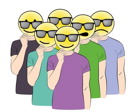 man holds smiles. changeable mood. puts on masks. vector illustration. Illustration