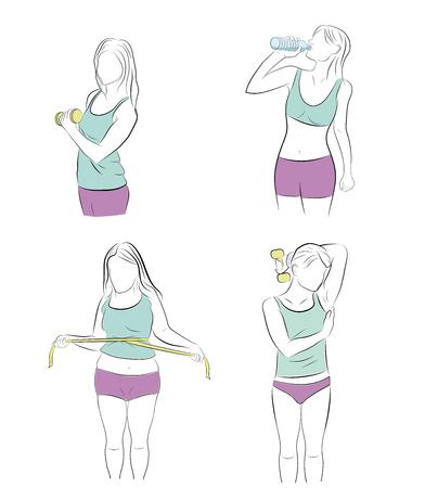 women play sports for weight loss. vector illustration. Ilustração Vetorial