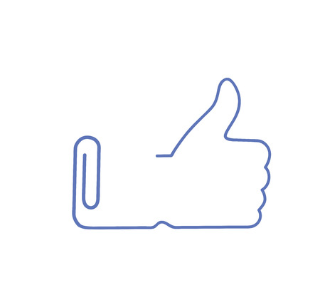 hand lifts thumb up. in the form of a paper clip. vector illustration Ilustração