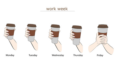 coffee size for each working day. work week. vector illustration.