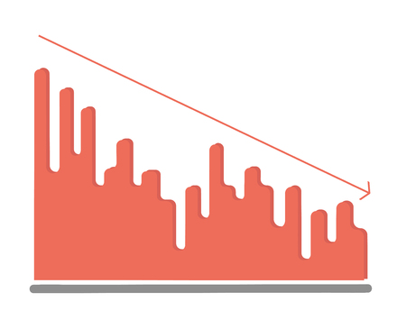 drop chart. flat illustration. vector.