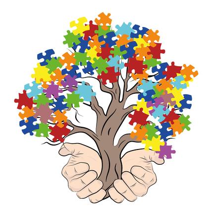 ręce trzymające drzewo z zagadkami. autyzm. ilustracji wektorowych.