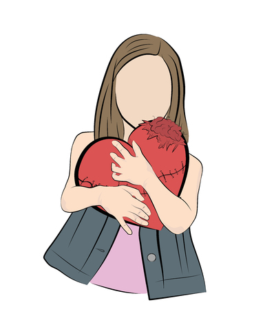 girl presses a darned heart. romance, love. Vector illustration. Çizim