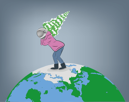a man in a spacesuit carries a Christmas tree across planet earth. vector illustration.