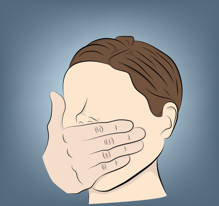 man covers his mouth with his hand. violence, fear. vector illustration.