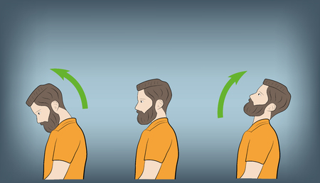 exercises for the neck and head. vector illustration Vector Illustratie