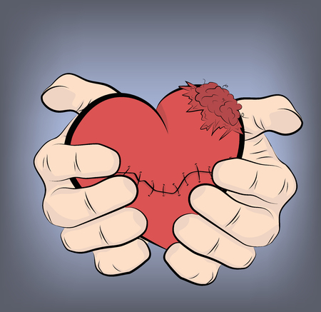 hands holding a darned heart. vector illustration.