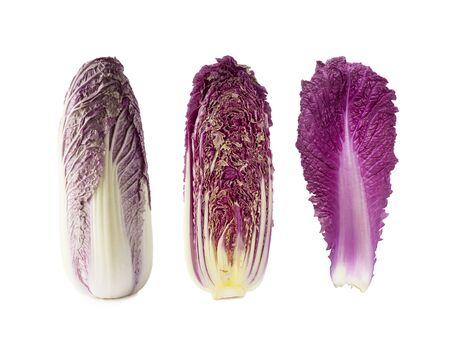 Purple napa cabbage. Red Napa, chinese cabbage on white. Purple chinese cabbage isolated on white background. Set of chinese cabbage (leaf, head of cabbage and half).