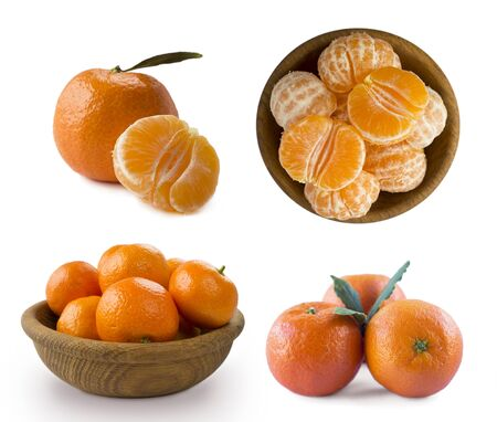 Set of fresh mandarins. Ripe and tasty tangerines isolated on white background. Clementines on a white background. Fresh tangerines with copy space for text. Slices of mandarin with leaves isolated on white background.Tangerines slices isolated on white background