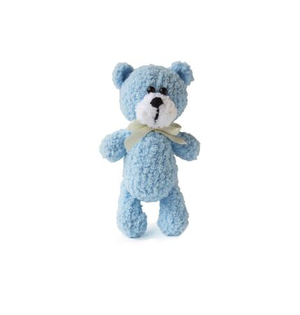 Blue crochet teddy bear isolated on white background. Handmade soft toy.