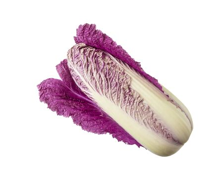 Purple napa cabbage on white. Purple chinese cabbage isolated on white background.