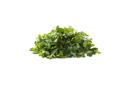 Parsley isolated on white background. Parsley leaves with copy space for text. Herbs isolated on white. Parsley leaves on white background.